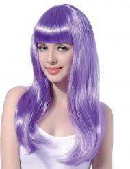 Peluca larga color violeta pálido para mujer