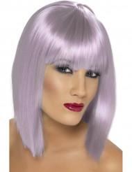 Peluca corta color violeta pálido para mujer