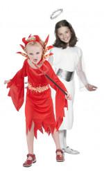 Disfraz infantil de pareja de ángel y diablesa