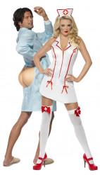 Disfraz de pareja de enfermera sexy y su paciente