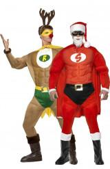 Disfraz de pareja de Super Reno y Super Papá Noel musculosos