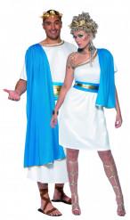 Disfraz de color azul de pareja de romanos