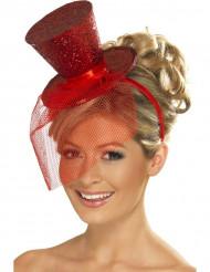 Minisombrero rojo con lentejuelas