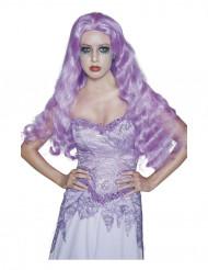 Peluca larga gótica violeta ideal para Halloween