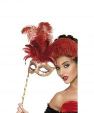 Antifaz veneciano con plumas rojas para adulto