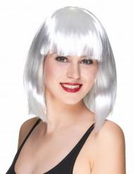 Peluca blanca en forma de media melena cuadrada con flequillo para mujer