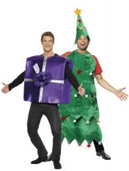 Disfraz de árbol y regalo de Navidad