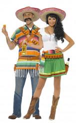 Disfraz de pareja de camareros mejicanos