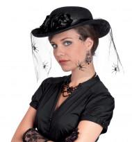 Sombrero con velo de telaraña para mujer
