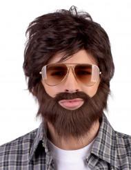 Peluca Dude con barba y bigote para adulto
