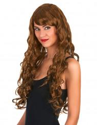 Peluca larga color castaño para mujer con glamour y tirabuzones