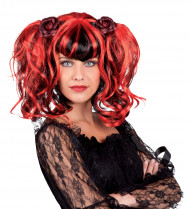 Peluca gótica roja y negra para mujer