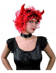 Peluca de diablesa con cuernos para mujer, ideal para Halloween