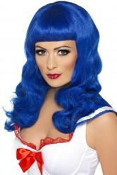 Peluca larga azul ondulada mujer