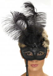 Antifaz con plumas negras para adulto