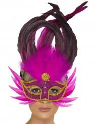 Antifaz veneciano con plumas rosas brillantes para adulto