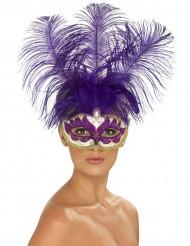 Antifaz veneciano violeta con plumas para adulto