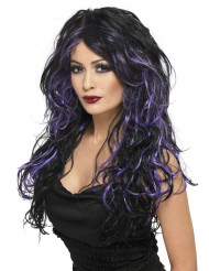 Peluca negra y violeta para mujer