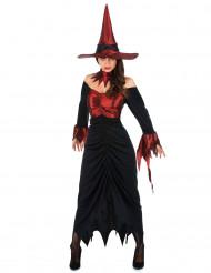 Disfraz de bruja sexy para mujer rojo satinado