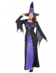 Disfraz de bruja largo para mujer morado y negro