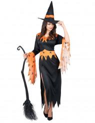 Disfraz de bruja naranja con arañas para mujer