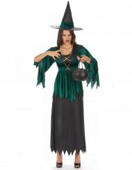 Disfraz de bruja verde y negro para mujer