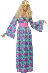 Disfraz de hippie con flores para mujer