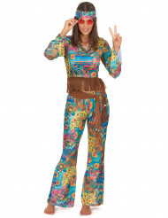 Disfraz de hippie colorido para mujer
