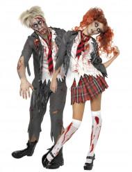 Disfraces de pareja de colegiales zombies ideales para Halloween