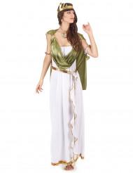 Disfraz de diosa griega toga verde para mujer
