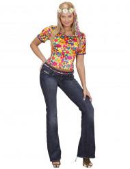 Disfraz de hippie camiseta para mujer