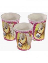 8 vasos con caballos