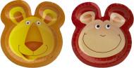 6 platos de 25 cm estilo safari con orejas