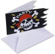 6 tarjetas de invitación estilo pirata