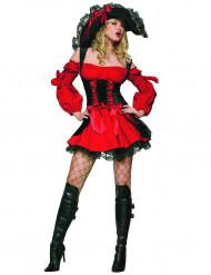 Disfraz de pirata para mujer rojo y negro
