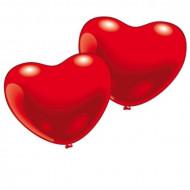 10 globos corazón rojo