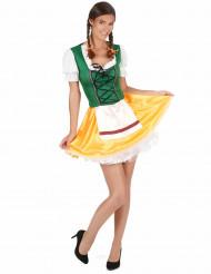 Disfraz de bávara amarilloy verde mujer