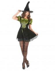 Disfraz de bruja verde para mujer Halloween