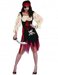 Disfraz de pirata zombie adulto Halloween mujer