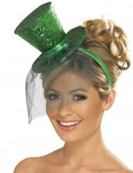 Minisombrero de copa verde con lentejuelas y pequeño velo