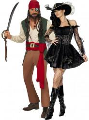 Disfraz de pareja de piratas aventureros