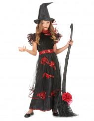Disfraz de bruja rosas rojas para niña