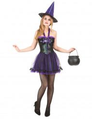 Disfraz de bruja morado y negro para mujer