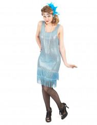 Disfraz de charlestón azul lentejuelas para mujer
