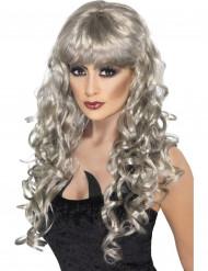 Peluca larga gris de mujer