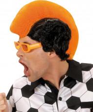 Peluca de hincha naranja
