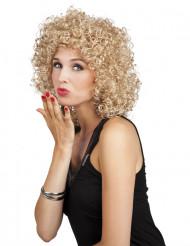 Peluca rizada rubia para mujer años 80