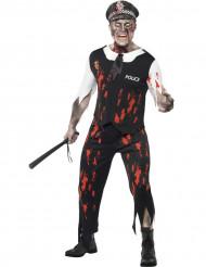Disfraz de policia zombie Halloween sangre