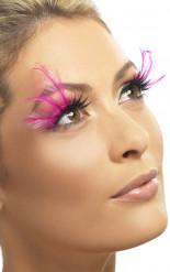 Pestañas postizas con plumas rosas