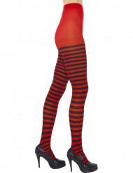 Medias de rayas de color negro y rojo para mujer